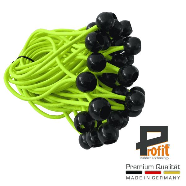 Brache di espansione con sfera in plastica nera 180mm | giallo neon | gomme di espansione | gomme per tende | gomme di tensionamento | tecnologia della gomma Profit