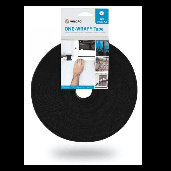 Nastro ONE-WRAP® del marchio VELCRO® 10mm x 25m in rotolo nero