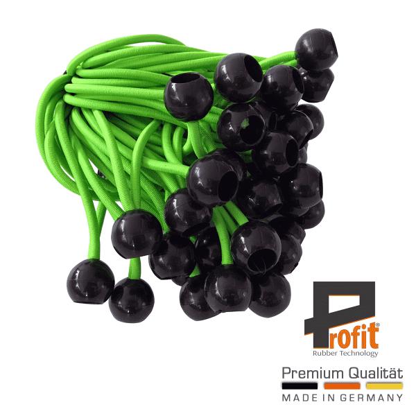 Gomme Expander con sfera 200mm neon verde | gomme di tensione con sfera in plastica | loop di tensione | gomme per tende | tecnologia della gomma Profit