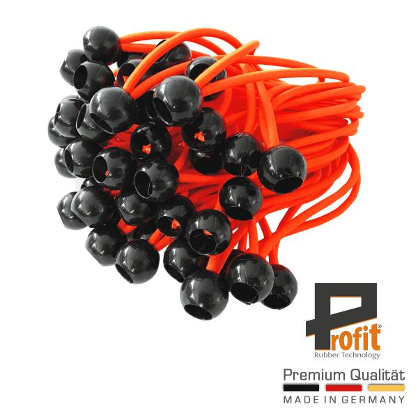 Anelli di espansione con sfera | Neon Orange | Gomma per tende | Tenditore per teloni | Gomma per tende | Tenditori | Tenditori | 25 pezzi | Tecnologia della gomma Profit