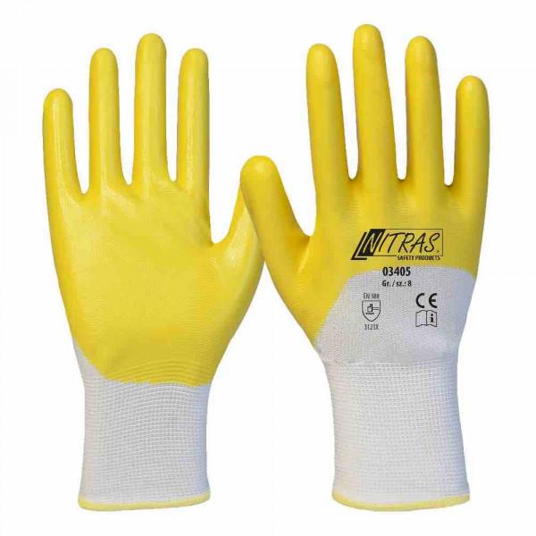 Guanti in nitrile poliestere poliestere bianco rivestimento in nitrile giallo 3/4 rivestito bracciale a maglia