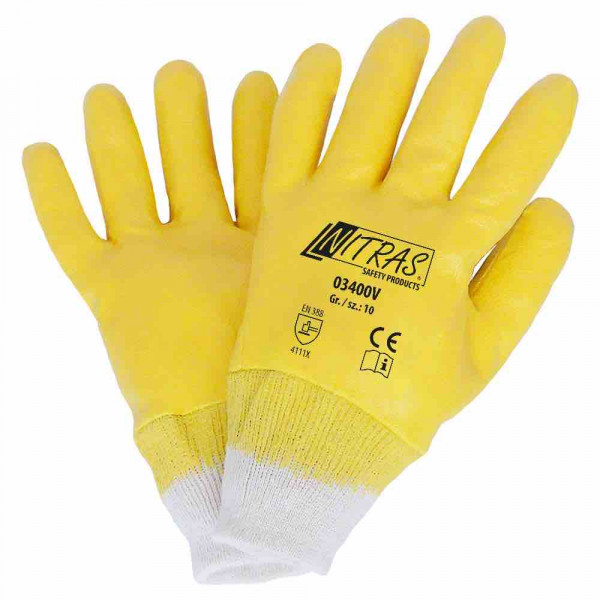 Guanti in nitrile di cotone tricot colore naturale Rivestimento in nitrile, giallo completamente rivestito