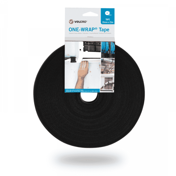 ONE-WRAP® Nastro del marchio VELCRO® 20mm x 25m in rotolo Nero